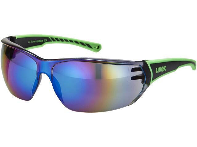 8752630f443941 UVEX sportstyle 204 fietsbril zwart - groen   mirror groen I ...